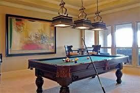 pool table wall art home billiard room design with wooden pool table and brown pendant