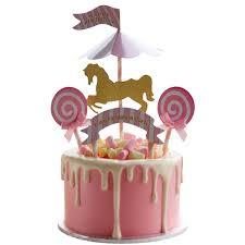 gender reveal cake toppers amusement park carousel cake topper unicorn birthday
