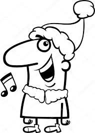 santa singing carol coloring u2014 stock vector izakowski 54285639