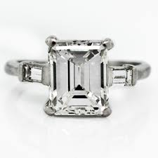 vintage emerald cut engagement rings vintage emerald cut diamond engagement ring claude morady estate
