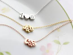 initials jewelry initials necklace with ampersand or heart gold silver or