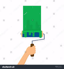 painting a wall hand holding roller brush painting wall stock vector 566520481
