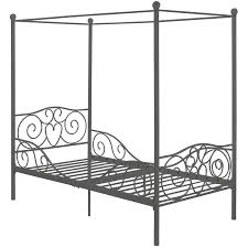 Twin Size Canopy Bed Frame Canopy Twin Metal Bed With Bonus Mattress Walmart Com