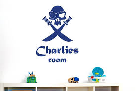 personalised boys name wall sticker pirate skull with swords vinyl see larger image