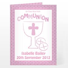 Holy Communion Invitation Cards Personalised First Holy Communion Card Pink