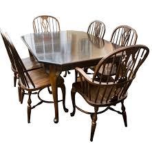 Antique Oak Dining Room Chairs Vintage Nichols U0026 Stone Oak Dining Set Ebth