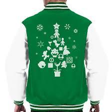 super mario bros christmas tree silhouette white men u0027s varsity