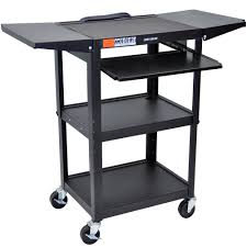 Adjustable Desk Shelf Luxor Avj42kbdl Adjustable Height Black A V Cart With Keyboard