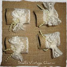 Shabby Chic Napkin Holder by Shell U0027s Vintage Charm Lace And Burlap