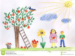 children in a autumn garden children drawing stock illustration