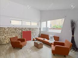 Orange Sofa Living Room by Interior View Of A Modern Living Room With Orange Sofa Ans Marble