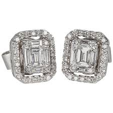 diamond earrings for sale illusion emerald cut diamond gold stud earrings for sale at 1stdibs