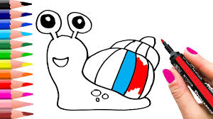 how to draw a rainbow shell snail learning coloring pages for