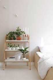 White Laminate Flooring Bedroom Bedroom Furniture Wooden Plant Shelf Nightstand Unique Bedside