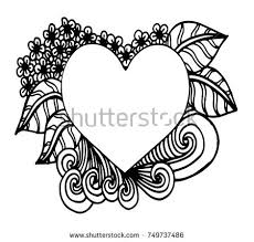 decorative love frame hearts flowers ornate stock vector 348390869