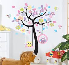 chic black family tree colorful flowers wall art mural sticker easy install just peel and stick the wall decorate baby kids nursery interior walls windows home bathroom office dorm store