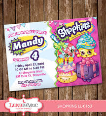 shopkins invitation card party invite birthday card by lunalumuc