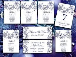 winter wonderland table numbers winter wedding seating chart template snowflake wedding navy blue