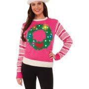 u0027s womens pink light up wreath ugly christmas sweater