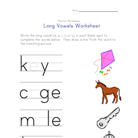 long vowel matching worksheet a e i and o all kids network