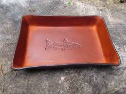 leather anniversary gifts for fishing themed leather gift for guys trout desk tray