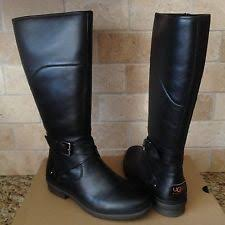 womens boots uk size 8 ugg evanna black leather waterproof buckle womens boots size