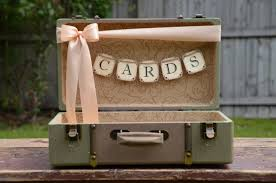 wedding card holder vintage style suitcase card box green