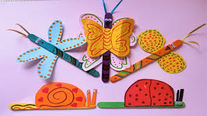 popsicle stick crafts with paper butterfly and snail diy for