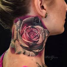 realistic rose side neck tattoo in 2017 real photo pictures
