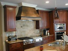 kitchen casual backsplash tile model closed gas stove near wooden