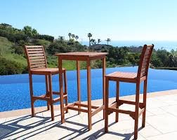 Patio Chairs Wood Amazon Com Vifah V495set1 Dartmoor Outdoor 3 Piece Wood Bar Set