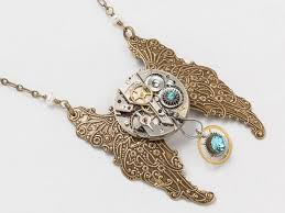 gold wings necklace images Steampunk necklace silver watch movement gears blue crystal with jpg