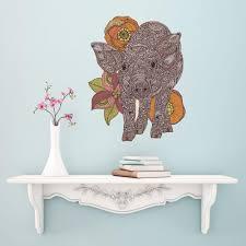 floral pig art wall sticker decal by valentina harper