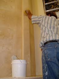 grouting wall tile on a marble travertine granite or slate