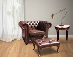 Leather Chesterfield Armchair Leather Chesterfield Armchair U0026 Footstool Designersofas4u