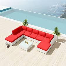 new uduka ibiza 9pcs outdoor red sectional patio furniture white