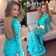 mermaid style bateau long sleeves backless turquoise lace prom