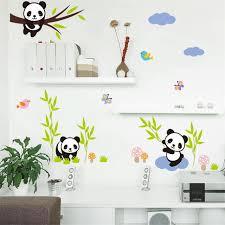 stikers chambre bebe idfiaf forêt de bande dessinée panda bambou oiseaux arbre stickers