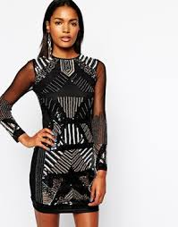 embellished dress black river island embellished sequin dress with mesh sleeve