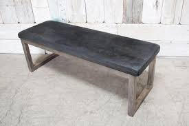 metal frame bench custom leather bench w metal frame gray bd antiques