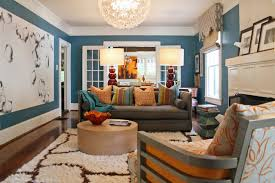 livingroom color eclectic living room grey bright pillows blue wall