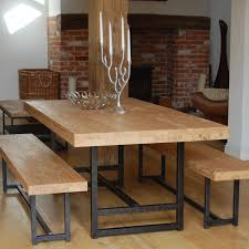 rustic dining table set with bench design contemporary house interior