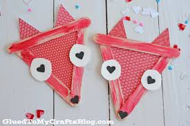popsicle stick valentine foxes kid craft glued to my crafts