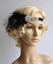 flapper feather black headband the great gatsby 1920s flapper
