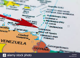 Map Of Spain And Africa by Red Arrow Pointing Grenada Island On The Map Of South Africa Stock