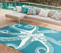 Turquoise Outdoor Rug Turquoise Octopus Tentacles 8 X 10 Area Rug Beach House Decor