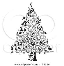 tree black and white christmas clipart 2092353