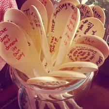 kitchen themed bridal shower advice spoons filled out by guests