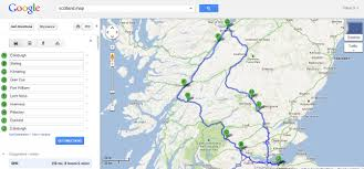 Road Trip Map Roller Coaster Scotland Road Trip
