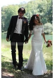 half lace wedding dress lace the shoulder court ivory half sleeve trumpet